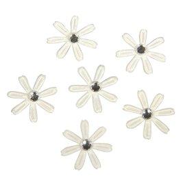 Embellishments / Verzierungen 60 satijnen bloemen met strass, 1,8 cm ø ivoor