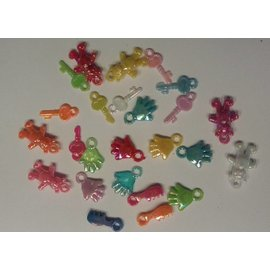 Embellishments / Verzierungen 25 acrylic pendant, theme baby in various color