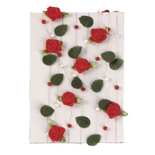 Embellishments / Verzierungen rose rouge guirlande avec des feuilles + perles