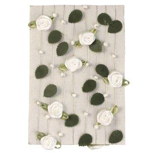 Embellishments / Verzierungen Rose krans met bladeren + parelwitte
