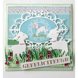 Joy!Crafts / Hobby Solutions Dies Ponsen sjabloon: Grens gras met bloemen
