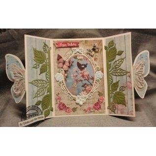 Studio Light Stempling og prægning mønster: Rose dekorativ ramme og to roser