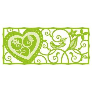 Tonic Stempling og prægning skabelon: filigran dekorativ kant Hjerte og fugl