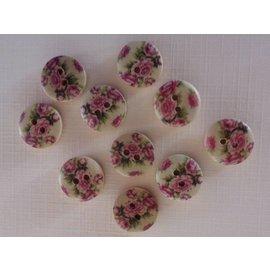 Embellishments / Verzierungen 10 botões de madeira com motivos rosa