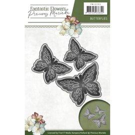 Precious Marieke Puncionamento e de estampagem estêncil: 3 borboletas