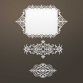 CREATIVE EXPRESSIONS und COUTURE CREATIONS Ponsen sjabloon: Ingewikkeld Decoratief frame en ornamenten