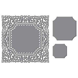 CREATIVE EXPRESSIONS und COUTURE CREATIONS Stansning skabelon: Intricate dekorativ ramme, firkantet