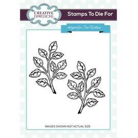 CREATIVE EXPRESSIONS und COUTURE CREATIONS timbro di gomma, 1 ramoscelli con foglie e 1 l'immagine speculare a
