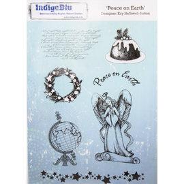 IndigoBlu A5 gummistempel: fred på jorden