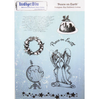 IndigoBlu A5 rubber stempel: Peace On Earth