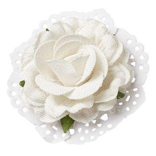 BLUMEN (MINI) UND ACCESOIRES Roses i Linen optik 6cm - 2 stk