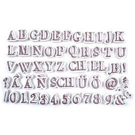 54 Stempel, Buchstaben und Zahlen + schwarzes mini Stempelkissen!