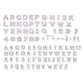 ALADINE 54 frimærker, bogstaver og tal + sort mini stempelpude!