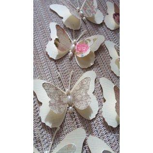 Embellishments / Verzierungen 9 Stück 3D Schmetterlinge mit Perlen