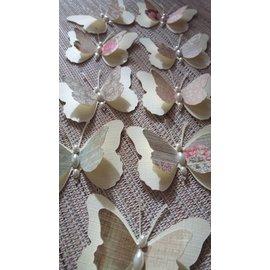Embellishments / Verzierungen 9 borboletas peça 3D com pérolas