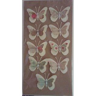 Embellishments / Verzierungen 9 stykke 3D sommerfugle med perler