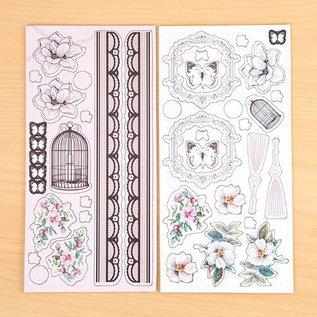 Embellishments / Verzierungen Chipboard self-adhesive, Shabby Chic
