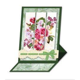 BASTELSETS / CRAFT KITS Bastelset: Triptychonkarten (cartão com três dobras) com flores