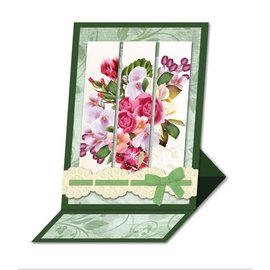 BASTELSETS / CRAFT KITS Bastelset: Triptychonkarten (tarjeta tríptico) con flores