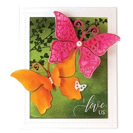 Penny Black template perfuração: borboleta com corações