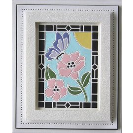 CREATIVE EXPRESSIONS und COUTURE CREATIONS Stamping template: Stained glass collection butterfly with flowers