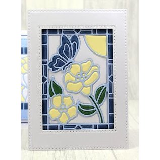 CREATIVE EXPRESSIONS und COUTURE CREATIONS Stanzschablone: Stained Glas Collection -Schmetterling mit Blumen