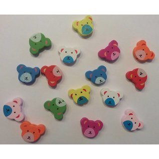 Holz, MDF, Pappe, Objekten zum Dekorieren 16 wood beads with cute bear motifs