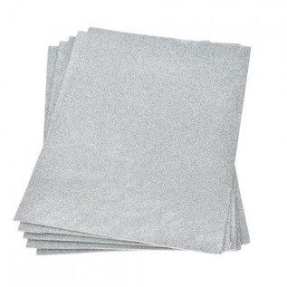 Moosgummi und Zubehör Skumgummiplade Glitter, 200 x 300 x 2 mm, sølv