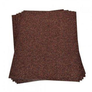 Moosgummi und Zubehör Skumgummiplade Glitter, 200 x 300 x 2 mm, mørkebrun
