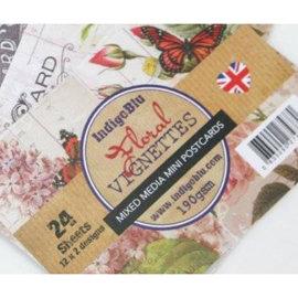 DESIGNER BLÖCKE / DESIGNER PAPER IndigoBlu Blomster Vignetter, mini Postkort mixed media Papers