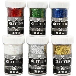 BASTELZUBEHÖR, WERKZEUG UND AUFBEWAHRUNG Glitter fibre, sortiment, metallic farver, 6x20g