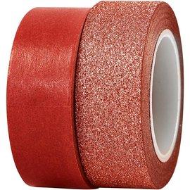 BASTELZUBEHÖR, WERKZEUG UND AUFBEWAHRUNG bande à motifs, W: 15 mm, rouge, 2 Rôle