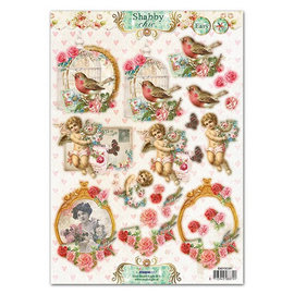 Studio Light A4 punching sheet, Shabby Chic motifs