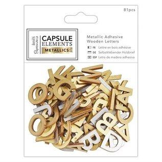 Embellishments / Verzierungen 81 bogstaver i træ med metallisk udskrivning!