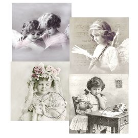 DECOUPAGE AND ACCESSOIRES 4 assortert designer Decoupage Servietter, Vintage Girls