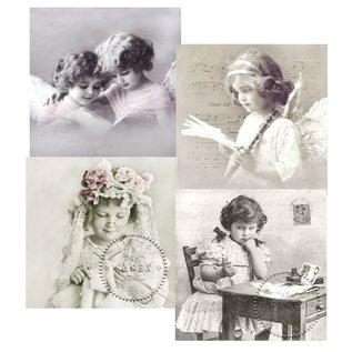 DECOUPAGE AND ACCESSOIRES 4 assorteret designer Decoupage servietter, Vintage Piger