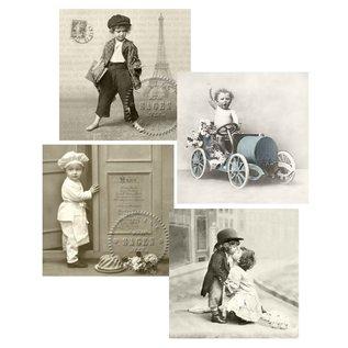 DECOUPAGE AND ACCESSOIRES 4 assorterede designer servietter i vintage stil, Drenge