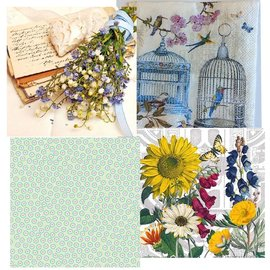 DECOUPAGE AND ACCESSOIRES 4 assorted designer de Decoupage guardanapos, Vintage