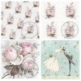 DECOUPAGE AND ACCESSOIRES 4 serviettes design decoupage à roses style vintage