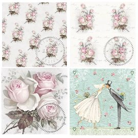 DECOUPAGE AND ACCESSOIRES 4 tovaglioli di decoupage di design in stile vintage rose