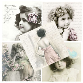 DECOUPAGE AND ACCESSOIRES 5 Designer napkins in vintage style, girl