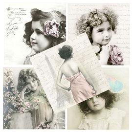 DECOUPAGE AND ACCESSOIRES 5 serviettes de créateurs dans le style vintage, fille