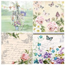 DECOUPAGE AND ACCESSOIRES 4 Assorted Designer Decoupage napkins in vintage design