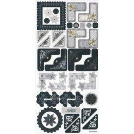 Embellishments / Verzierungen Stickers, huwelijk, elegant hoek en het frame