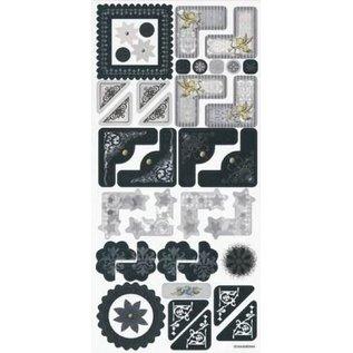Embellishments / Verzierungen Klistermærker, bryllup, elegant hjørne og ramme