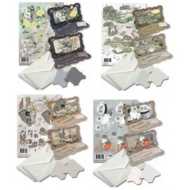 BASTELSETS / CRAFT KITS Card set for the design of 4 folding cards!