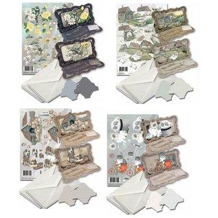 BASTELSETS / CRAFT KITS Kartenset zur Gestaltung von 4 Faltkarten!