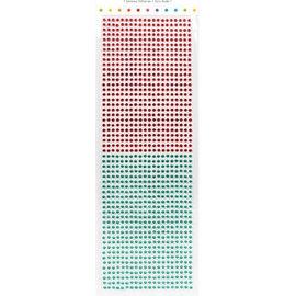 Embellishments / Verzierungen Auto-adesivas pérolas, pedras, 3 mm, vermelho e verde