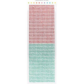 Embellishments / Verzierungen des perles auto-adhésives, des pierres, 3 mm, rouge et vert