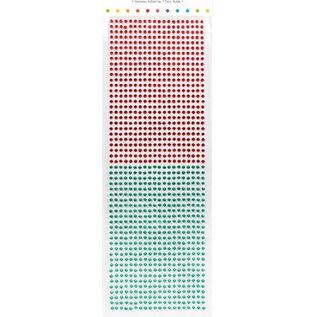 Embellishments / Verzierungen Selbstklebende Perlen, Steinchen, 3 mm, rot und grün